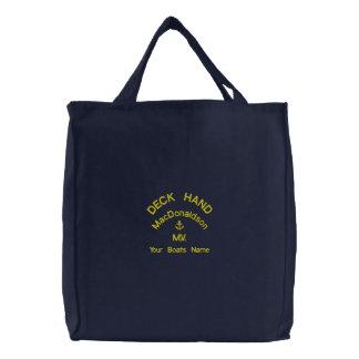 Main de plate-forme et nom personnalisés de sacs brodés