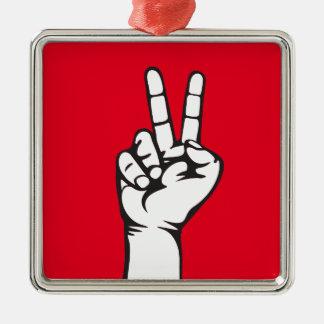 main de V-signe Ornement Carré Argenté
