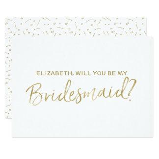 """Main d'or marquée avec des lettres """"vous serez ma carton d'invitation  12,7 cm x 17,78 cm"""