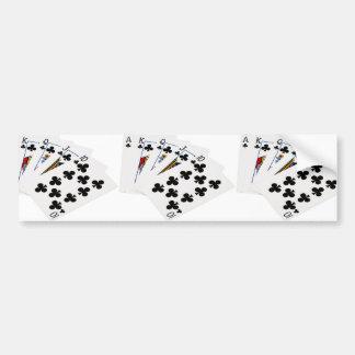 Mains de poker - quinte royale - costume de clubs autocollant de voiture