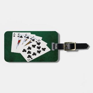 Mains de poker - quinte royale - costume de clubs étiquette à bagage
