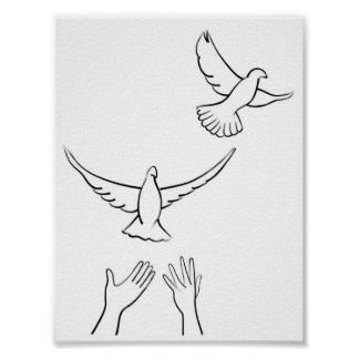 Mains libérant des colombes