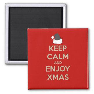Maintenez calme et appréciez Noël Magnet Carré