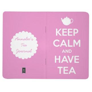 Maintenez calme et ayez le journal rose de thé