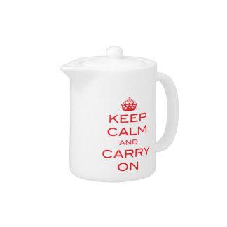 Maintenez calme et continuez le pot de thé - rouge