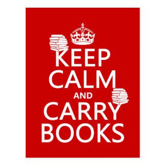 Maintenez calme et portez les livres (dans toute cartes postales