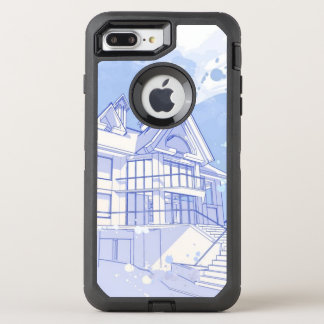 maison : aspiration d'aquarelle coque OtterBox defender iPhone 8 plus/7 plus