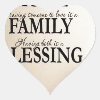 Maison + Famille = bénédiction Sticker Cœur