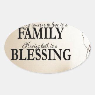 Maison + Famille = bénédiction Sticker Ovale
