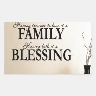 Maison + Famille = bénédiction Sticker Rectangulaire