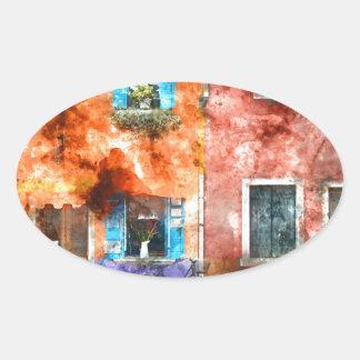 Maisons colorées dans Burano Italie près de Venise Sticker Ovale