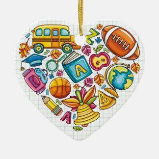Maître d'école - Merci Ornement Cœur En Céramique