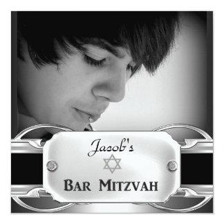 Mâle argenté noir en métal de Mitzvah de barre Carton D'invitation 13,33 Cm