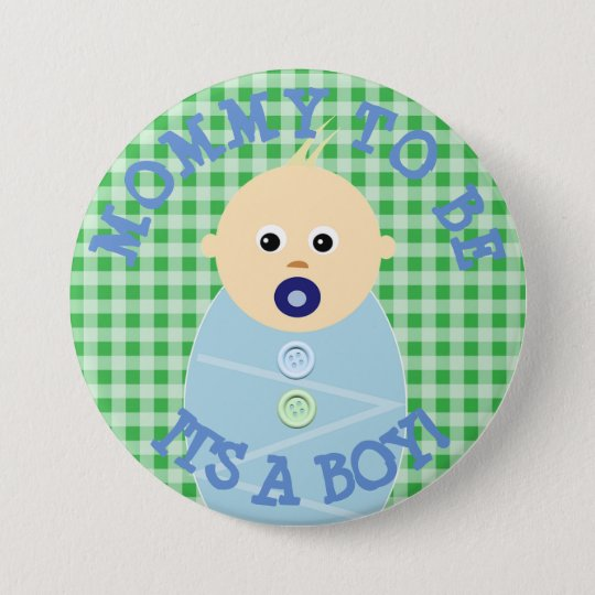 Maman à être bouton bleu de baby shower de bébé badge rond 7,6 cm