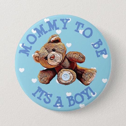 Maman à être bouton bleu de baby shower de coeurs badge rond 7,6 cm