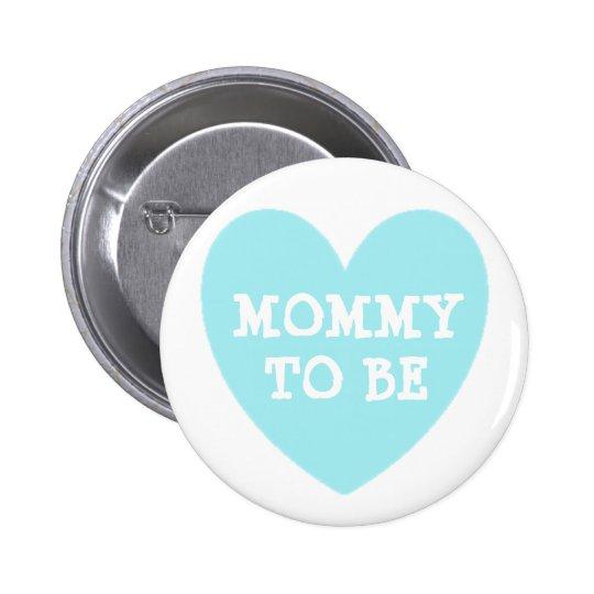 Maman à être bouton bleu en pastel de baby shower badge rond 5 cm