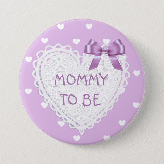 Maman à être bouton de baby shower de coeurs badge rond 7,6 cm
