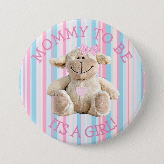 Maman à être bouton rose de baby shower d'agneau badge rond 7,6 cm