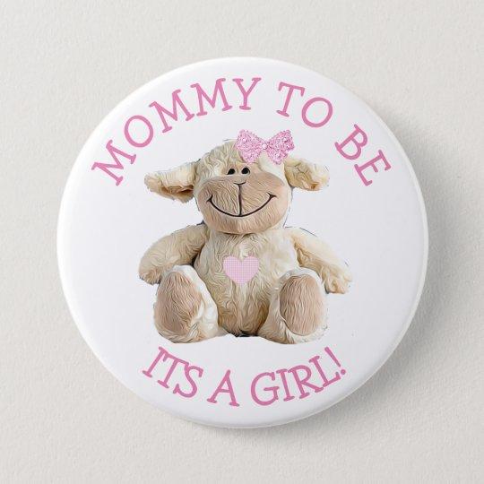 Maman à être bouton rose de baby shower de coeurs badge rond 7,6 cm