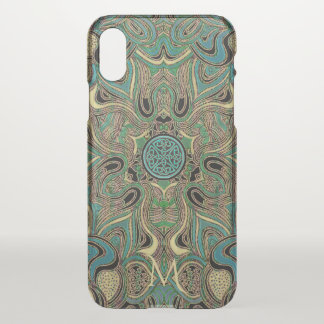 Mandala celtique en vert bleu d'or avec le coque iPhone x