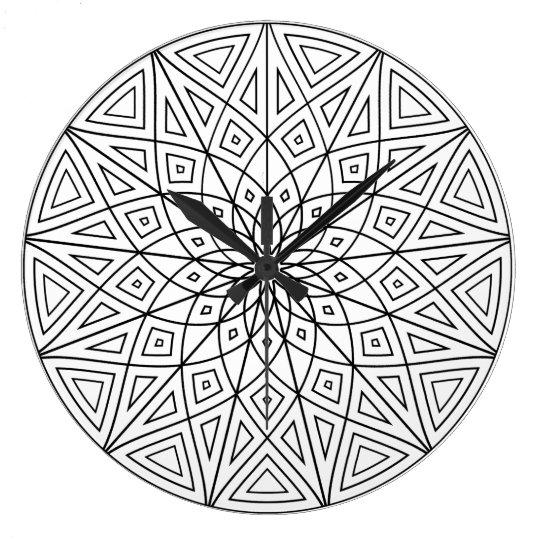 Mandala de douze points grande horloge ronde