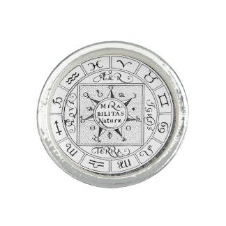 Mandala de symboles de zodiaque et de planète bagues avec photo