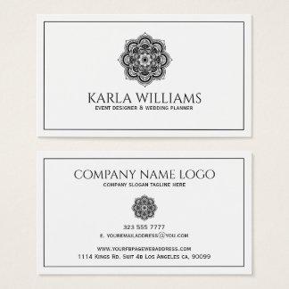 Mandala floral blanc et noir cartes de visite