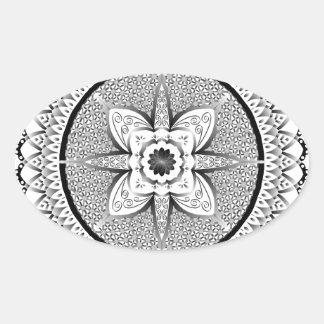 Mandala noir et blanc sticker ovale