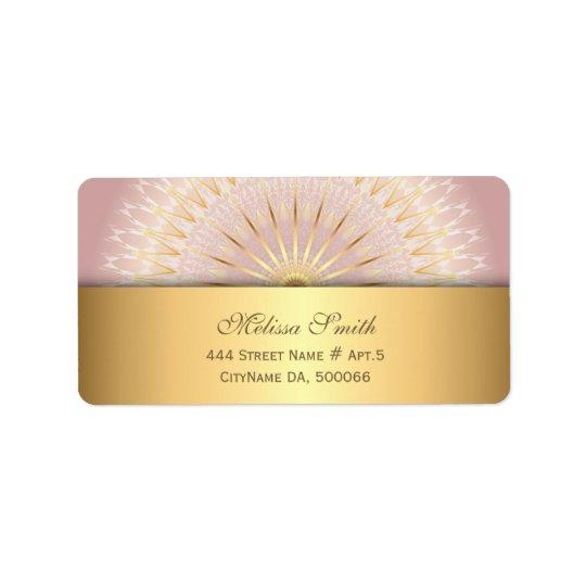 Mandala rose d'or étiquettes d'adresse