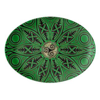 Mandala vert de Kelly Triskele Plateau De Service En Porcelaine