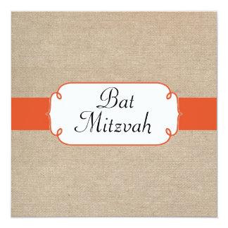 Mandarine vintage et bat mitzvah beige de toile de carton d'invitation  13,33 cm