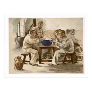 Mangeant de la soupe aux casernes, de 'L'Estampe Carte Postale