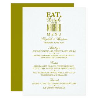 Mangez, boisson et soyez menu marié de mariage carton d'invitation  11,43 cm x 15,87 cm