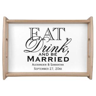 Mangez, buvez, et soyez mariage fait sur commande plateau de service