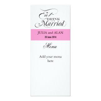 Mangez, buvez, et soyez marié en épousant le rose carton d'invitation  10,16 cm x 23,49 cm
