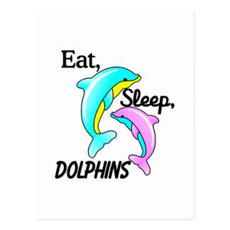 Mangez, dormez, des dauphins cartes postales