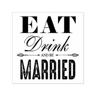 Mangez la boisson et soyez mariage marié tampon auto-encreur