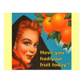 Mangez la conception vintage de fruit carte postale