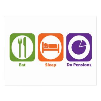 Mangez le sommeil font des pensions carte postale