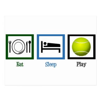 Mangez le tennis de jeu de sommeil carte postale
