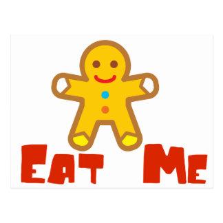 Mangez-moi humour de vacances de bonhomme en pain carte postale