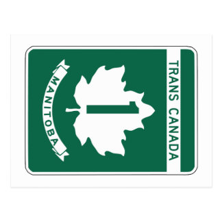 Manitoba, signe de route du Transport-Canada Carte Postale