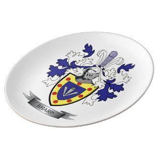 Manteau de crête de famille des bras pointu assiettes en porcelaine