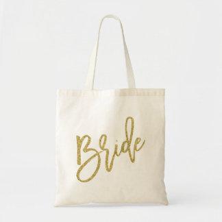 Manuscrit de scintillement d'or de jeune mariée sac en toile budget