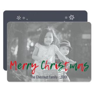 Manuscrit rouge de Joyeux Noël de vert moderne de Carton D'invitation 12,7 Cm X 17,78 Cm