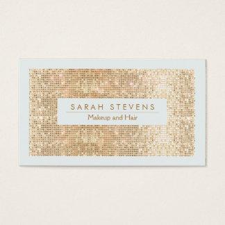 Maquillage mignon et cheveux de paillette d'or de carte de visite standard