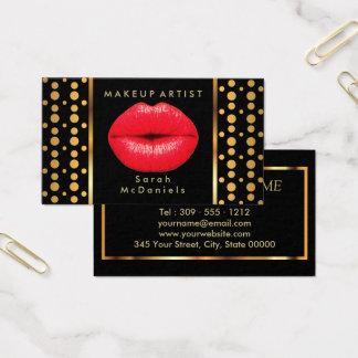 Maquilleur avec les lèvres et les points rouges cartes de visite