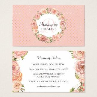 Maquilleur floral d'or de rose rose romantique de cartes de visite