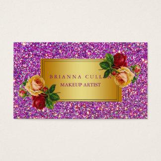 Maquilleur Girly de scintillement d'or de rose Cartes De Visite