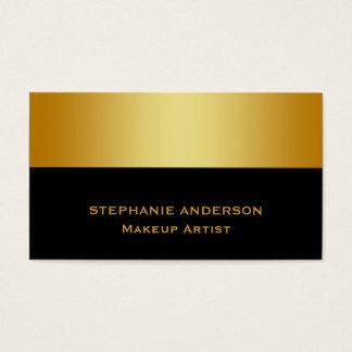 Maquilleur rayé d'or noir audacieux et élégant cartes de visite